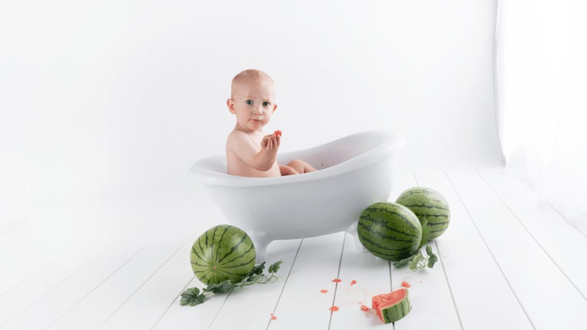 赤ちゃんお風呂スイカ